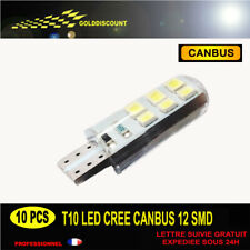 kit 10 t10 led w5w cree Blanc 6000k 12 smd silicone canbus anti erreur 300 lm /