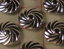 12 Fine Metal Shank Buttons Spiral Silver Made in France