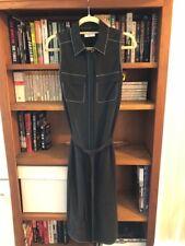 $308 EQUIPMENT FEMME Small Black Contrast Stitch BELTED Silk Shirt Dress NWT