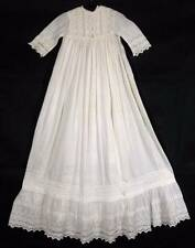 Antique Vtg Lace & Cotton Baby Christening Gown Dress & Petticoat MOP Buttons