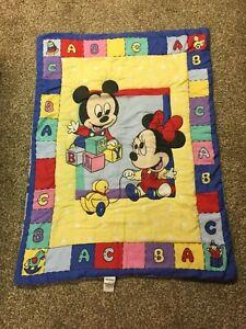 Vintage Disney Babies Mickey Minnie Mouse Crib Blanket Comforter ABC Blocks WOW!