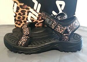 Fila Women's Andros Lightweight Strap Sandal - Pick Size - Leopard/Black - 1E_28
