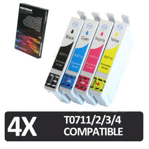 4x ink cartridges non-oem for use in EPSON T0711, T0712, T0713, T0714 T0715