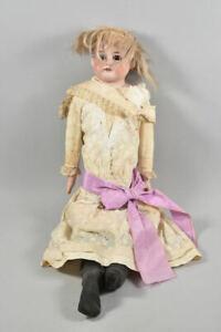 k49l17- Alte Armand Marseille Porzellankopf Puppe, Lederkörper