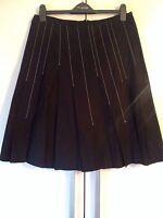 Black Skirt With White Stitch Trim, Turnover, Size 12