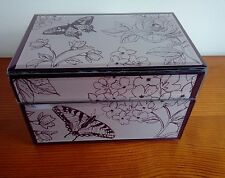 mauve glass jewellery box butterfly floral