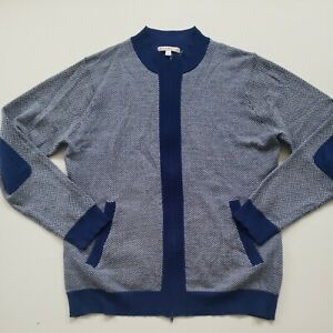 Peter Millar Women's 100% Merino Wool Blue Herringbone Zip Up Sweater Pockets L