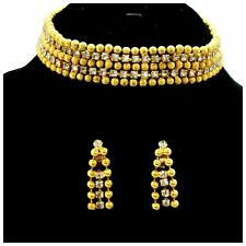 Vintage Juliana 4 KJL Rhinestone Ball Chain Dog Collar Necklace Dangle Earrings