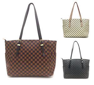 Women's Large Checked Designer Tote Bag Leather Style Quality Shoulder Handbag