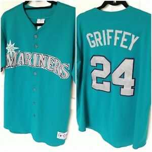 VTG Ken Griffey Jr Seattle Mariners #24 Jersey Sz L Made in USA Green Majestic