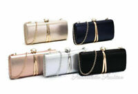 New Ladies Shiny Velvet  Evening Clutch Bag Wedding Prom Party Hard Case Handbag