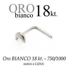 Piercing da naso nose  in ORO BIANCO white GOLD 18kt. con LUNA LISCIA MOON