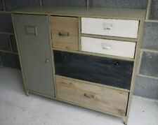 Pair of Sideboard Cabinets Storage Draws Industrial Metal Wood Vintage