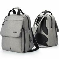 Diaper Backpack Multifunction Bag with 13 Pocket, Stroller Straps, Large, Grey