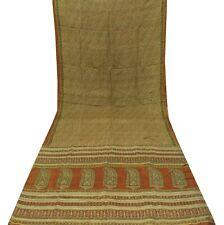 Pure Silk Vintage Sari Floral Printed Brown Saree Fabric Indian Dress Craft Wrap