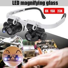 Head Set Magnifier Magnifying Eye Glass Loupe Jeweler Watch Repair Set LED Light