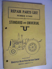 VINTAGE MINNEAOLIS MOLINE PARTS  MANUAL-STD & UNIVERSAL U  MODEL TRACTORS