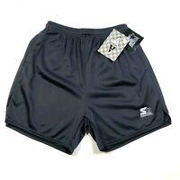 Vintage Starter Sport Mens S Black Mesh Nylon Gym Shorts Lined Drawstring NWT