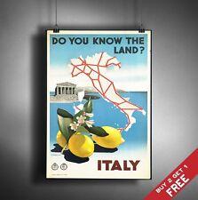 A3 GRANDI ITALIA POSTER retrò vintage viaggio Wall Art Home Decor mappa LIMONE PICTURE