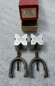 2 Vintage The L.S. Starrett No.278 V-Blocks Plus Clamps In Box. Serial # 2478.