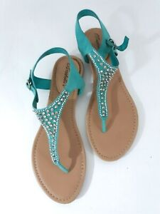 Breckelles Sandals Sz 11 Aqua Blue Studded Thong Ankle Strap Buckle Flats NIB