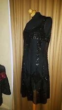 ESPRIT COLLECTION BLACK BEADED SHEER SEQUIN COCKTAIL PARTY DRESS SZ I44,US10