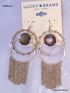 Lucky Brand  Silver Tone Double Hoop Fringe Earrings w/ Smoked Quartz 3-1/2''
