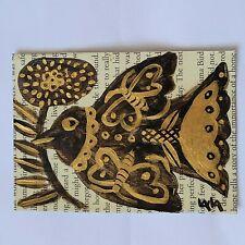 ORIGINAL ACEO Folk Art Flower Botanical Bird Stem Leaf Butterfly Flight Insect