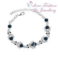 18K White Gold Plated Made With Swarovski Crystal Lovely Ladybirds Bracelet