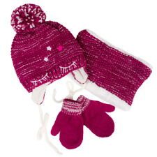 Girls' Pompom Hat, Snood Scarf and Mittens Set 1-3 Years Red Raspberry