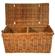 WICKER LIDDED STORAGE TRUNK BASKET BEDROOM SHOES HALLWAY TOYS HOME
