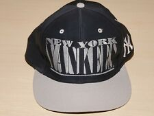"""New York Yankees Logo 7 Vintage NYY MLB Snapback Hat Spellout w/ """"Shadow"""" Effect"""