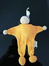 Doudou poupée lutin orange éponge bonnet rayé ALANA 23 cm .