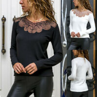 Ladies Lace Round Neck Tops Blouse Women Long Sleeve Slim Tee T-shirt Bottoming
