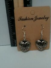 Handmade Hollow Double Sided Silver Plated Heart Dangle Earrings - Free Shipping