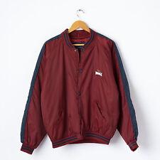 Vintage Oversized LONSDALE Bomber Jacket in Maroon Size M L Boyfriend Baseball