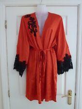 MARJOLAINE Ladies 100% Silk Dressing Gown Robe In Burnt Orange/Black UK 12/FR 40