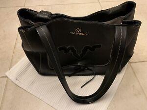 100% Authentic Valentino Tote Bag Black  Leather