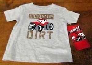 Case IH for kids Gray T-shirt w/KICKIN' UP DIRT' & CASE IH tractor Ships free