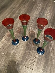 EUC Pier 1 Set Of 4 Champagne Glasses Hand Painted Look