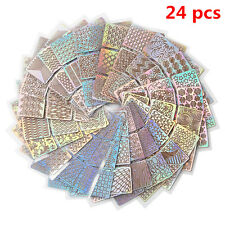 24 Sheets Nail Art Transfer Stickers 3D Manicure Tips Decal DIY Decorations Tool