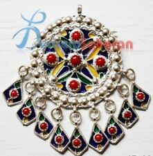 silver and enamel brooch Pure Algerian Handmade white