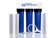 "Whole House Big Blue TRIPLE WATER FILTER SYSTEM 1""NPT GAC/Carbon/Sediment"