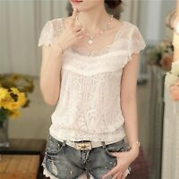 Women Sexy Elegant White Lace V Neck Short Sleeve  Casual Blouse T Shirt Tops