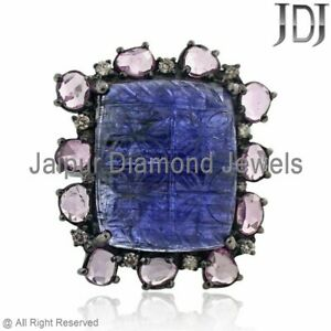 Natural Diamond Blue Tanzanite Carving Sapphire Cocktail Ring 925 Silver Jewelry