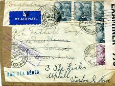 1936-53 AIRMAILS to UK from CHILE, SPAIN, BRITISH GUIANA, PERU,US VIRGIN ISLANDS