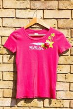 Womens Hollister T-Shirt Top in Pink with Flower Detail Size Small