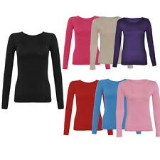 JUSTYOUROUTFIT Ladies plain viscose  Long Sleeves Stretchy Fitted T-shirt-8-12