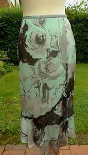 Gold 100% silk mint &grey floral patterned skirt  size12    (C3)