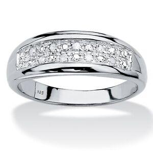 Men's 1/8 TCW Platinum over .925 Silver Round Genuine Diamond Wedding Ring